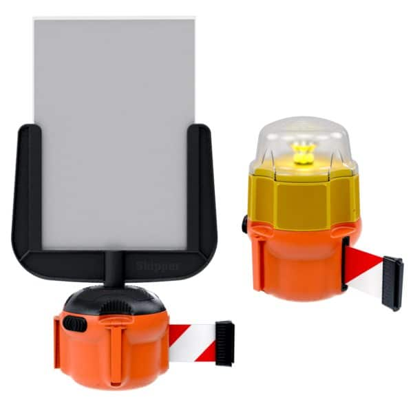health and safety sign and light retractable barrier