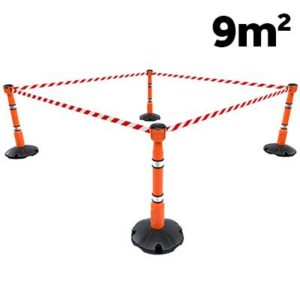 stanchion and retractable tape barrier kit orange