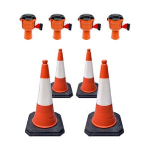 Cone retractable barrier kit